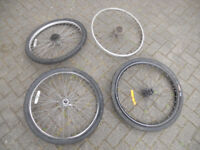 SELECTION of 26 inch bike bicycle cycle wheels rims tyres spokes front and back quick release