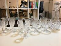 Crystal cut glasses and decanter