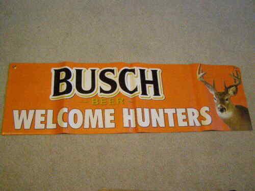 "Busch Beer Heavy Vinyl Banner Hunting Hunter Deer Man Cave 14""X48"" Brand New"