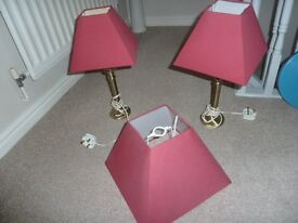 two bedside lamps & matching centre light shade