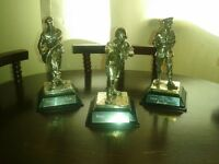 set of 3 gulf war pewter figurine sculptures
