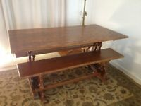 Solid American Oak Dining Room Table and two bench seats
