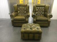Genuine leather chesterfield sofa set•free delivery