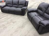 LUXURY BLACK FULTONS LEATHER 3 & 2 RECLINING SOFAS SUITE