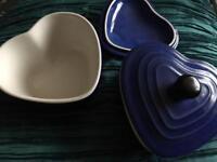 Blue heart casserole dishes: Le Creuset style