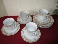 Beautiful Vintage China Coffee Tea cup Set of 4 and 1 Vintage Mason's jar