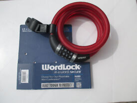 Wordlock Padlock with 6ft cable - Letter Combination Lock