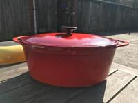 CREUSET casserole dish Oval, colour Red , Good condition, buyer collect's