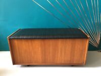 Mid Century Vintage Teak and Black Vinyl Ottoman Storage Box Seat