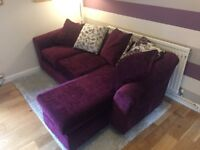 Plum coloured chenille reversible corner sofa, chaise can be left or right side, excellent condition