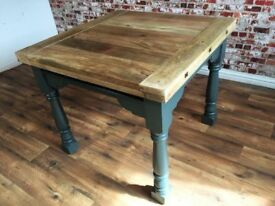 Painted Folding Extending Hardwood Rustic Reclaimed Kitchen Dining Table - Delivery Available