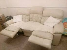 3 seater lether beige sofa