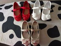Girls party shoes 3 pairs, Red,Gold & white