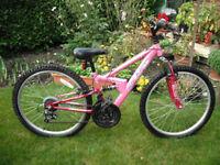 Girls Apollo FS24 Mountain Bike - 12.5 inch Frame - 24 inch Wheels - 18 Gears