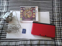 3DS XL Red with 2GB SD Card, Power cable and Professor Layton