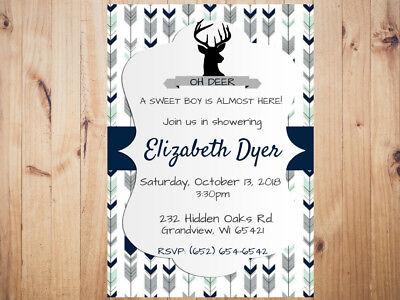 Rustic Deer Baby Shower Invitation Personalized Custom  **You Print  - Rustic Baby Shower Invitations