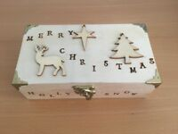 Handmade Wooden Christmas Keepsake/Jewellery box