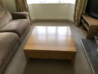 Very good quality oak effect habitat 1m square coffee table with drawers