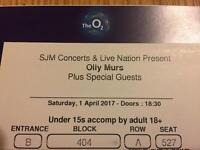 Olly Murs Tickets x2 O2 Arena 1st April