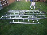 ALUMINIUM LADDERS, SINGLE,DOUBLE,TRIPLE,TELESCOPIC, 120pounds 5 IN TOTAL CAN SELL SEPERATE, DELIVER