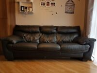 3seater black high quality leather sofa and storage footstool for sale.
