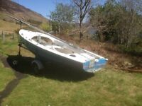 Wayfarer sailing dinghy, 16 foot Mark 2 fibre glass,road trailer, mast, sails, oars, buoys, anchor
