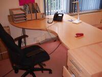 Beech wood office furniture incs 2 large desks + pedestals, 4 other desks + 3 filing cabs +3 chairs