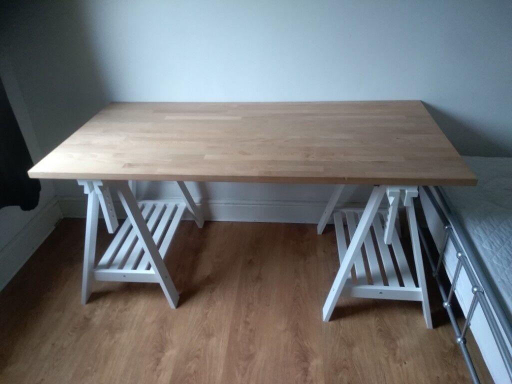 IKEA large wooden desk with white wooden legs | in London Bridge, London |  Gumtree