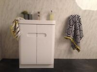 Mode Planet White Gloss Vanity unit, floor standing, bathroom cabinet cupboard sink basin cubik tap