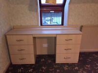 Various maple bedroom furniture.