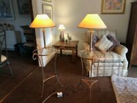 Matching table lamps and shades