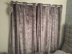 Full length long crushed velvet curtains