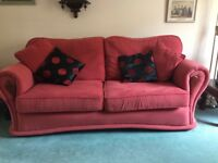 three seater and two seater settee with matching storage foot rest
