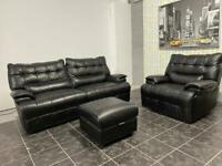 Real black leather electric recliner sofa with power recliner armchair and footstool