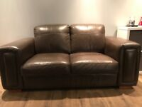 **FREE 3 seater and 2 seater brown leather suite