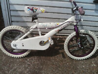 HUFFY PINK AND WHITE GIRLS BIKE 16 inch wheels £40 ovno