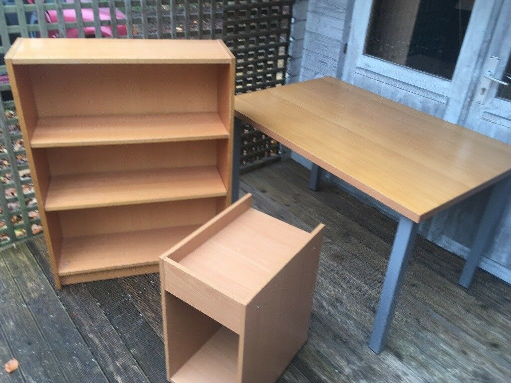 Wooden table, shelfs and filing cabinet