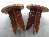 Pair of vintage 1960's hand carved, 3 legged small folding side, plant, lamp tables