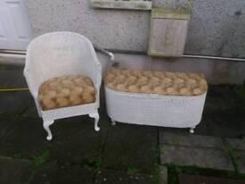 Lloyd loom chair and blanket chest