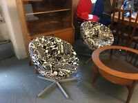 A PAIR OF IKEA RETRO STYLE SWIVEL CHAIRS IN EXCELLENT CONDITION