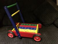 Wooden building blocks & trolley