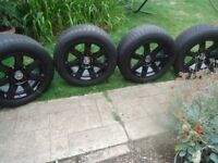 17x 4 BLACK Alloys Wheels and WINTER tyres Will Fit Renault trafic/vivaro VW T5-T6