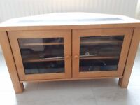 wooden tv table and matching coffee table.