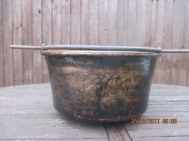 COPPER CAULDRON. HUGE AND AUTHENTIC IN HEAVY GAUGE COPPER. FRENCH.