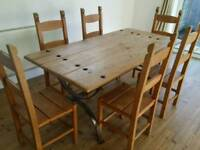 Oak dining table and chairs cast iron rustic recycled