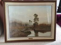 Beautiful landscape picture in mahogany frame
