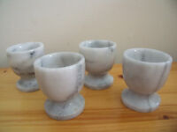 EGG CUPS: 4 matching, (believed to be) marble egg cups. £5 ovno the lot