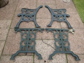 3 x cast iron bench ends £25 and cast iron table ends £40