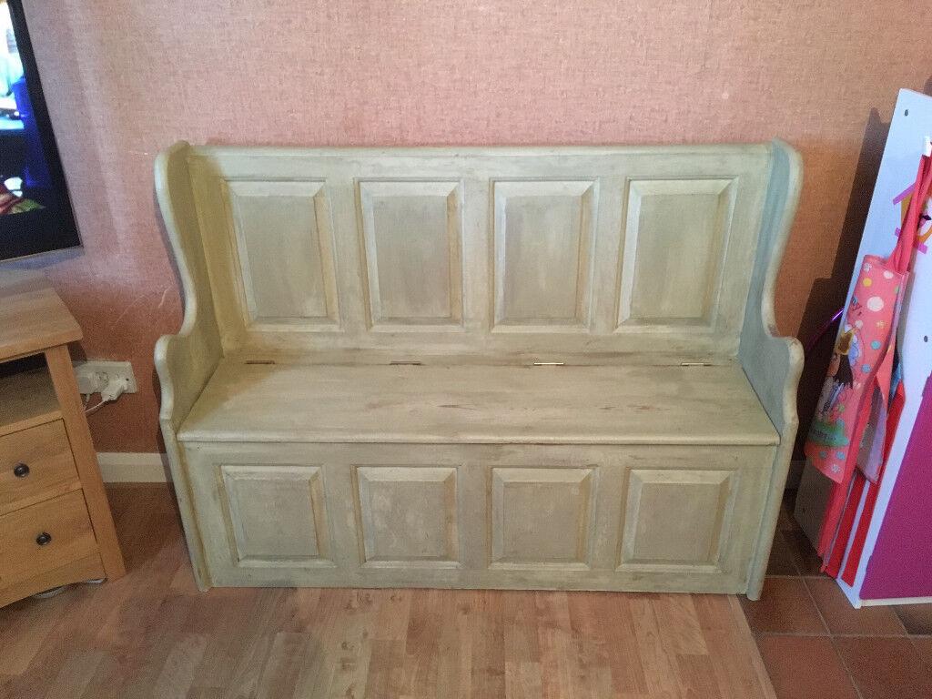 Vintage 4ft church pew monks bench with under seat storage