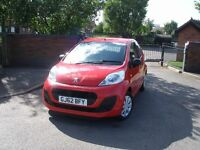 2012 62 Peugeot 107 1.0 Access finished in bright red, 1 Owner car, ZERO ROAD TAX!